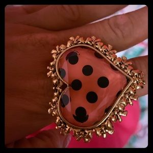Betsey Johnson pink heart ring